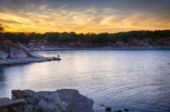 lac venteux de coucher du soleil photo libre de droits