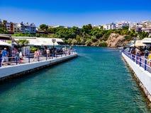 Lac Voulismeni, Agios Nikolaos Photos libres de droits
