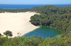 Lac Wabby, île de Fraser, Australie photographie stock libre de droits