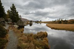 Lac Windeben sur la route de Nockalm en parc national Nockberge, Autriche image libre de droits