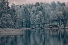 Lac winter de la Finlande Photos stock