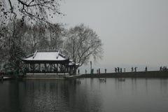 Lac Xihu après neige Photographie stock libre de droits