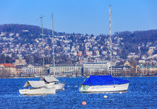 Lac Zurich en hiver images libres de droits
