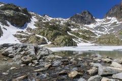 Laca Blanc del lago en el fondo del macizo de Mont Blanc montan@as foto de archivo libre de regalías