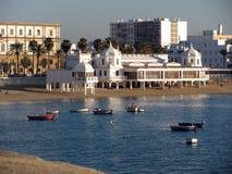 LaCaleta strand i Cadiz Arkivfoton