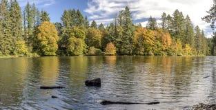Lacamas湖全景卡马斯华盛顿州 免版税库存照片
