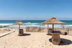 Lacanau, Atlantic Ocean, France, a cafe terrace on the beach. A cafe terrace closed to the central beach of Lacanau, a French seaside resort on the Atlantic Stock Photos