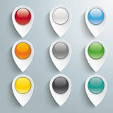 9 Lacation Markers Colored Buttons. White markers with buttons on the grey background. Eps 10  file Stock Images