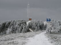 Lacauti top 1777 m. The second top from vrancea mountains meteorological station at altitude of 1777 m in winter Stock Photos