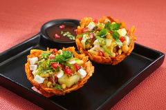 Laccha Tokri Chaat or Potato Basket stuffed with potato Royalty Free Stock Photo