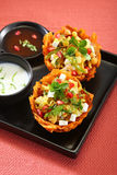 Laccha Tokri Chaat or Potato Basket stuffed with potato Royalty Free Stock Photography
