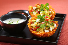 Laccha Tokri Chaat or Potato Basket stuffed with potato, sprout Royalty Free Stock Image