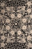 Lace. Antique handmade lace with black background Stock Image