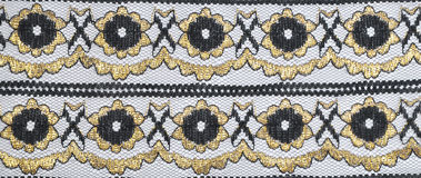 Lace. Decorative black lace with gold furnish Stock Images