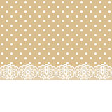 Lace And Ribbon On Polka Dot Fabric Stock Images
