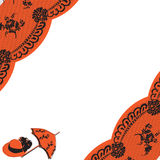 Lace angle. Black lace at the corner of the substrate with an orange and white background royalty free illustration