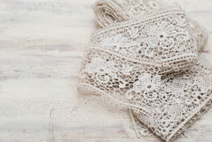 Lace. Antique handmade lace on the table Stock Image