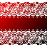 Lace background. Red-white lace background with copy space Stock Photo