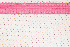 Lace background. Dots fabric background with lace composition stock images