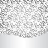 Lace background and pearl necklace Royalty Free Stock Photography