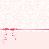 Lace background and pink ribbon Stock Photography