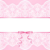 Lace background and  ribbon Royalty Free Stock Photography
