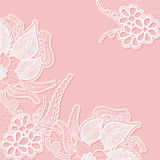 Lace background with space for text. Template wedding invitation or greeting card with an openwork pattern. Stock Photo
