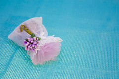 Lace bag of fragrant lavender Royalty Free Stock Image