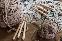Lace with a ball of yarn Royalty Free Stock Photo