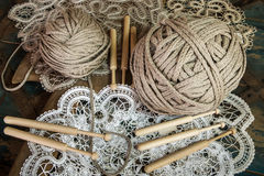 Lace with a ball of yarn Royalty Free Stock Images