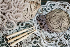Lace with a ball of yarn Stock Photo