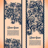 Lace banners. Abstract Lace Ribbon Vertical banners.Template frame design for card.Lace Doily.Can be used for packaging, invitations, and template Stock Illustration