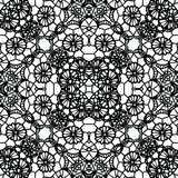 Lace black seamless mesh pattern. Vector illustration Stock Images