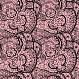Lace black seamless mesh pattern. Royalty Free Stock Image