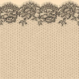 Lace. Black Lace. Seamless Pattern. Beige Backgrounds Stock Images