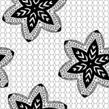 Lace black seamless pattern with flowers. On white background Stock Illustration