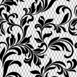 Lace black seamless pattern with flowers on white background.  Royalty Free Stock Photo