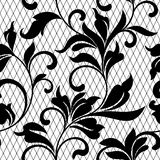 Lace black seamless pattern with flowers on white backgroundLace floral background for your design wallpapers, wrapping, pattern. Lace black seamless pattern vector illustration