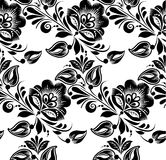 Lace black seamless pattern with flowers on white Stock Photography