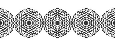 Lace. Black silhouette. Seamless pattern of round ornament. Snowflakes. Vector Royalty Free Stock Photography