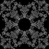Lace black and white seamless texture with a floral pattern Royalty Free Stock Photo