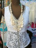 Lace Blouse on Dark Mannequin in Clothing Shop Stock Photos