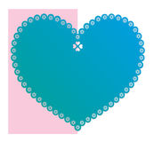 Lace blue heart. For label, sticker or tag royalty free illustration