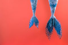 Mermaid tail on a coral background stock photos