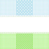 Lace border on fabric checked background Royalty Free Stock Photo