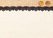 Lace border. Over Canvas texture design for background stock photo