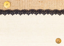 Lace border. Over Canvas texture design for background royalty free stock images