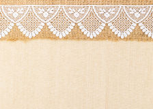 Lace border. Over Canvas texture design for background stock photos
