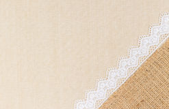Lace border. Over Canvas texture design for background royalty free stock photo