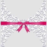 Lace border and red ribbon Stock Photos
